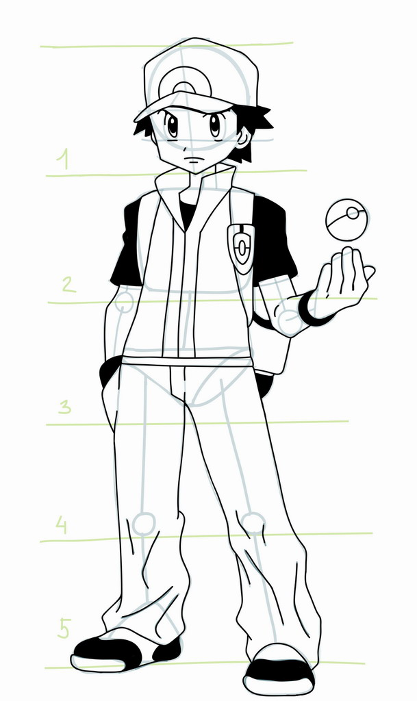 How To Draw Pokemon Trainer Red Mangajam Com